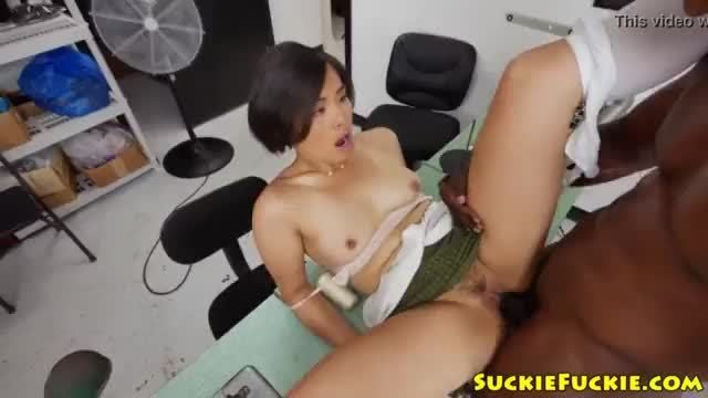 Asian amateur doggystyled by big black cock