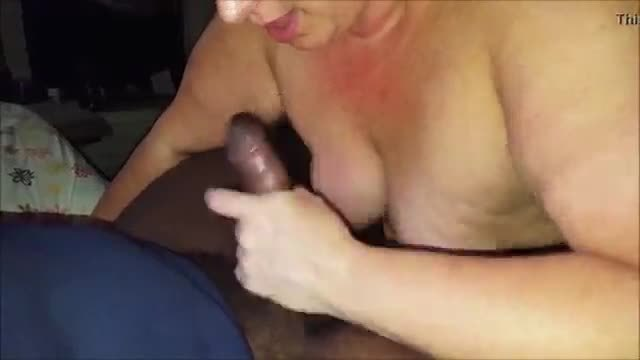 Mature wife sucking off a black man from the internet