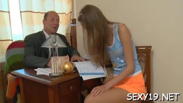 Mature teacher is taking advantage of sinless angel